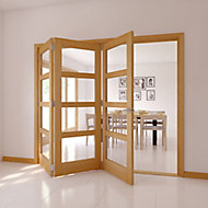 4 Lite Glazed Shaker Oak veneer LH Internal Tri-fold Door set, (H)2035mm (W)2374mm