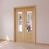 1 Lite Clear 2 Panel Internal French Door, (H)2020mm (W)1230mm
