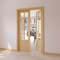 6 Lite Clear 2 Panel Internal French Door, (H)1981mm (W)579mm