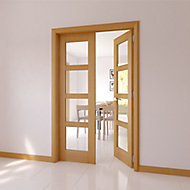 4 panel 4 Lite Glazed Shaker Oak veneer Internal French Door set, (H)2030mm (W)1230mm