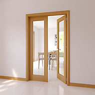 1 Lite Glazed Shaker Oak veneer Internal French Door set, (H)2030mm (W)770mm