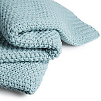 Durran Duck egg Knitted Throw