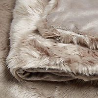 Clarice Taupe Plain Faux fur Throw