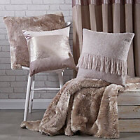 Clarice Taupe Plain Faux fur Throw