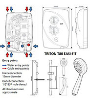 Triton T80 Easi-Fit White Electric shower, 10.5 kW