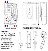 Triton Temptation Blue Electric shower, 8.5 kW