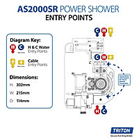 Triton Silent running White & chrome effect Thermostatic Power Shower