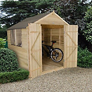 7x7 Forest Apex roof Overlap Wooden Shed Base included