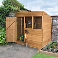 Forest 7x5 Pent Overlap Wooden Shed (Base included) - Assembly service included