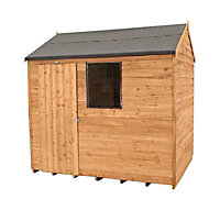 Forest Garden 8x6 Reverse apex Overlap Wooden Shed (Base included)