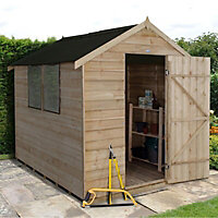 Forest Garden 8x6 Apex Overlap Wooden Shed (Base included) - Assembly service included