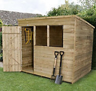 Forest 8x6 Pent Overlap Wooden Shed (Base included) - Assembly service included