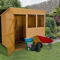 Forest Garden 7x5 Pent Shiplap Wooden Shed (Base included) - Assembly service included