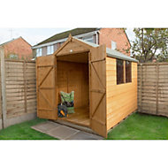 8x6 Apex roof Shiplap Wooden Double Door Shed Base included