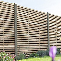 Contemporary Double slatted Fence panel (W)1.8m (H)1.8m, Pack of 3