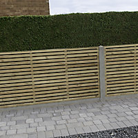 Contemporary Double slatted Fence panel (W)1.8m (H)0.9m, Pack of 3