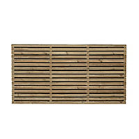 Contemporary Double slatted Fence panel (W)1.83m (H)0.9m, Pack of 4