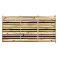 Contemporary Double slatted Fence panel (W)1.83m (H)0.9m, Pack of 5