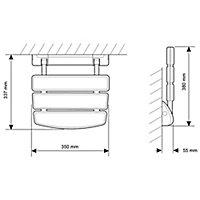 Mira Wall-mounted Shower seat (H)355mm (W)350mm