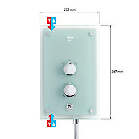 Mira Azora Frosted glass Electric shower, 9.8 kW