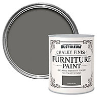 Rust-Oleum Anthracite Chalky effect Matt Furniture paint, 0.75L