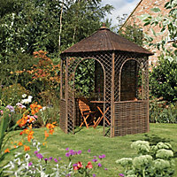 Rowlinson Willow Natural Hexagonal Gazebo, (W)2.48m (D)2.15m