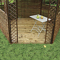 Rowlinson Willow Natural Hexagonal Gazebo, (W)2.48m (D)2m with Floor included - Assembly service included