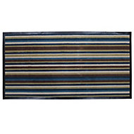 Colours Blue & brown Striped Nylon microfiber Door mat (L)1200mm (W)600mm