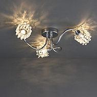 Katarina Brushed Chrome effect 3 Lamp Ceiling light