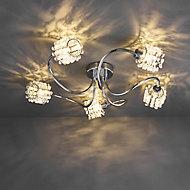 Katarina Brushed Chrome effect 5 Lamp Ceiling light