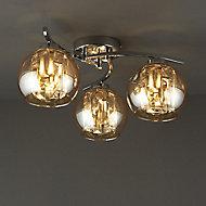 Silas Chrome effect 3 Lamp Modern Ceiling light