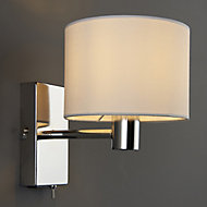 Larsson Polished Chrome effect Living room Wall light