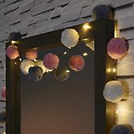 Pom pom Battery-powered Warm white 16 LED Indoor String lights