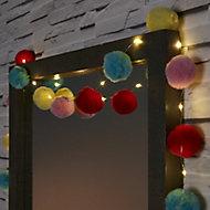 Pastel pom pom Battery-powered Warm white 16 LED Indoor String lights