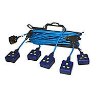 Masterplug 5 socket 13A Blue Extension lead, 15m