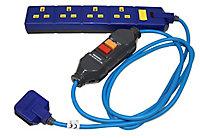 Masterplug 4 socket 13A Blue Extension lead, 2m