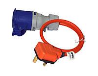 Masterplug 1 Socket 13 A Mains converter lead hook-up adaptor 0.5 m Orange