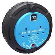 Masterplug 2 socket Cable reel, 4m