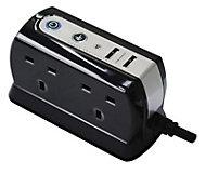 Masterplug 4 socket 13A Black Extension lead, 2m