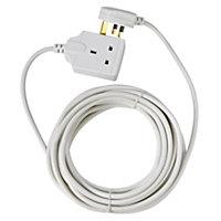 Masterplug 1 socket 10A White Extension lead, 8m