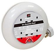 Masterplug 4 socket Cable reel, 4m
