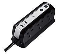 Masterplug 6 socket Black Extension lead, 2m