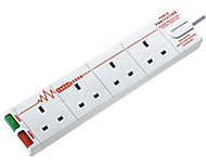 Masterplug 4 socket White Extension lead, 4m