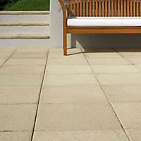 Textured Buff Paving slab (L)600mm (W)600mm, Pack of 20