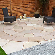 Sunset buff Natural Sandstone Circle paving pack 3.3m