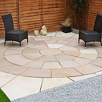Sunset buff Paving circle squaring off corner 4.74m² , Pack of 20