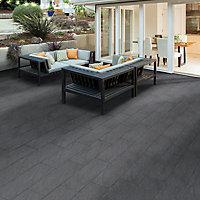 Graphite Mode textured Paving slab (L)600 (W)298mm Pack of 72