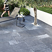 Natural limestone Blue black Paving slab (L)600mm (W)600mm