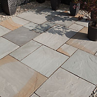 Natural Sandstone Grey blend Paving slab (L)600mm (W)300mm