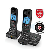 BT DECT Black Telephone with Nuisance call blocker & answer machine - Twin